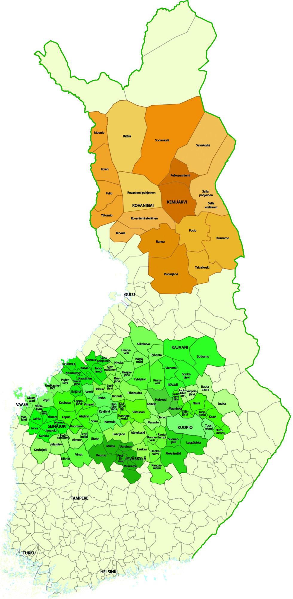Keitele Groupin hankinta-aluekartta.